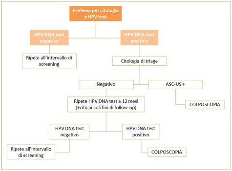 Figura 2: Algoritmo per l'uso del test DNA come test primario nello screening, regione Emilia-Romagna